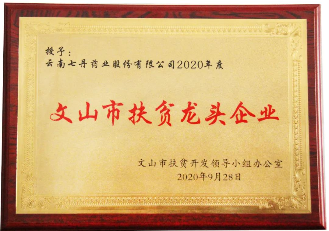 """七丹药业被认定为""""文山市2020年度市级扶贫龙头企业"""""""